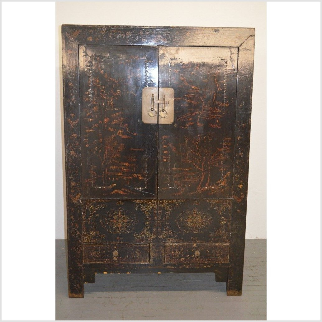 Original Black Lacquer Antique Cabinet