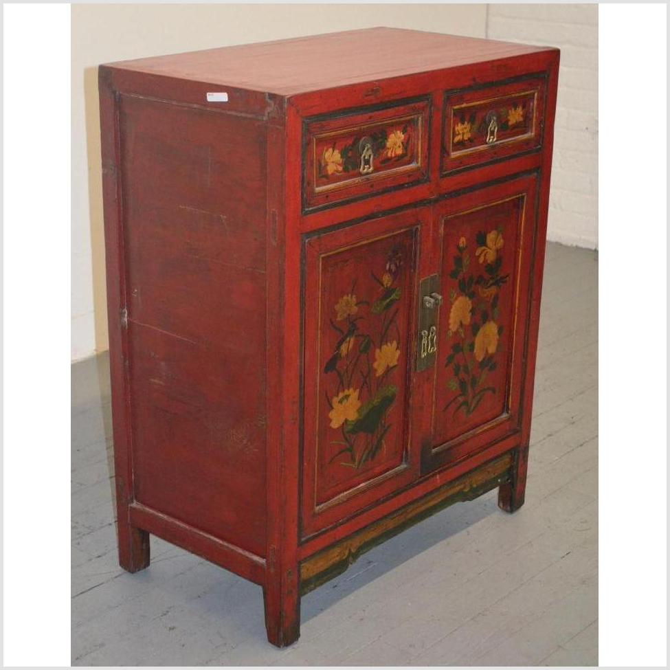 Painted Red Small Cabinet