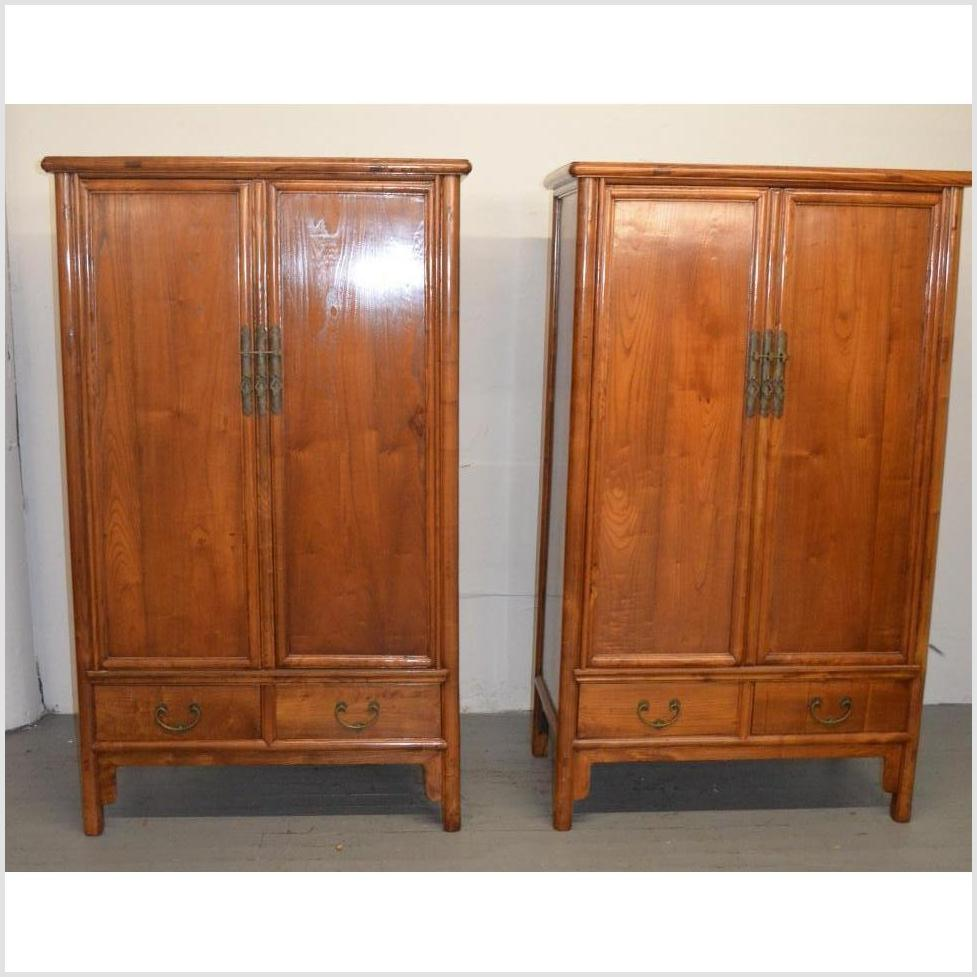 Pair of Antique Natural Finish Cabinets