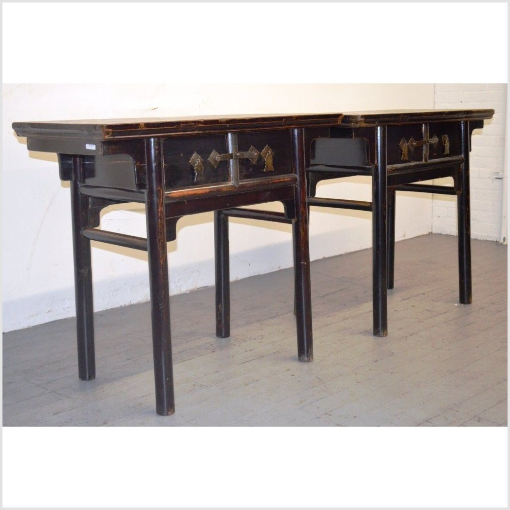 Pair of Black Lacquered Console Tables