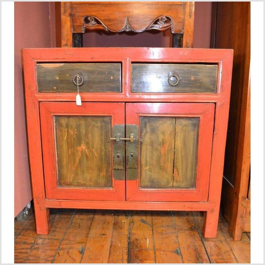 Pair of Red Bedside Cabinets