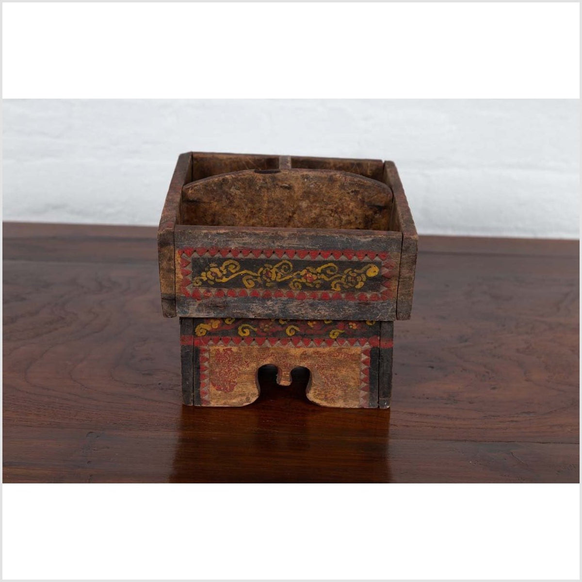 Petite Thai Rustic Betel Nut Box with Weathered Patina and Painted Décor