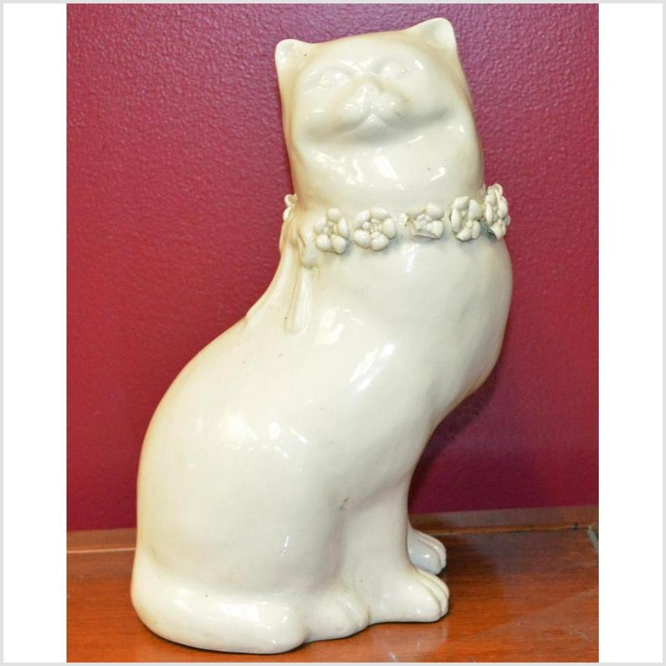Porcelain Standing Cat with Head to Side