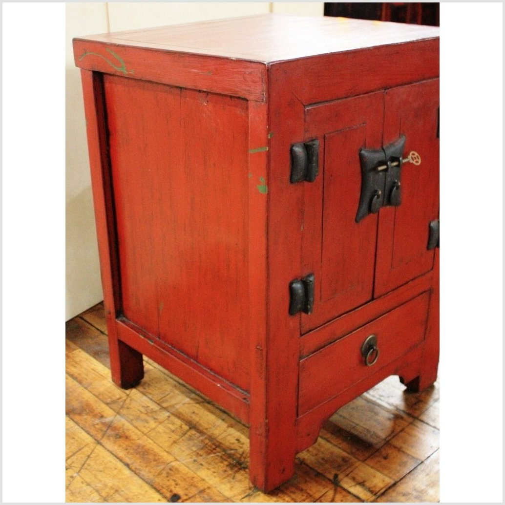 Red Lacquer Elm Small Cabinet