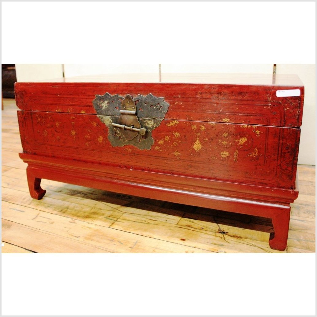 Red Lacquer Gilt Trunk/Blanket Chest