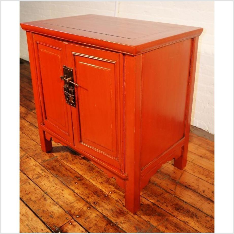 Red Lacquered Side Cabinet