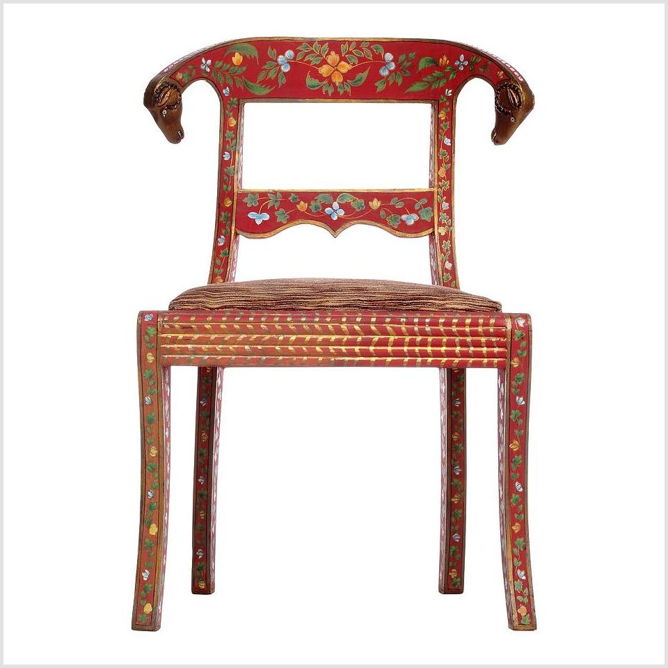 Red Multi-Colored Indian Chair