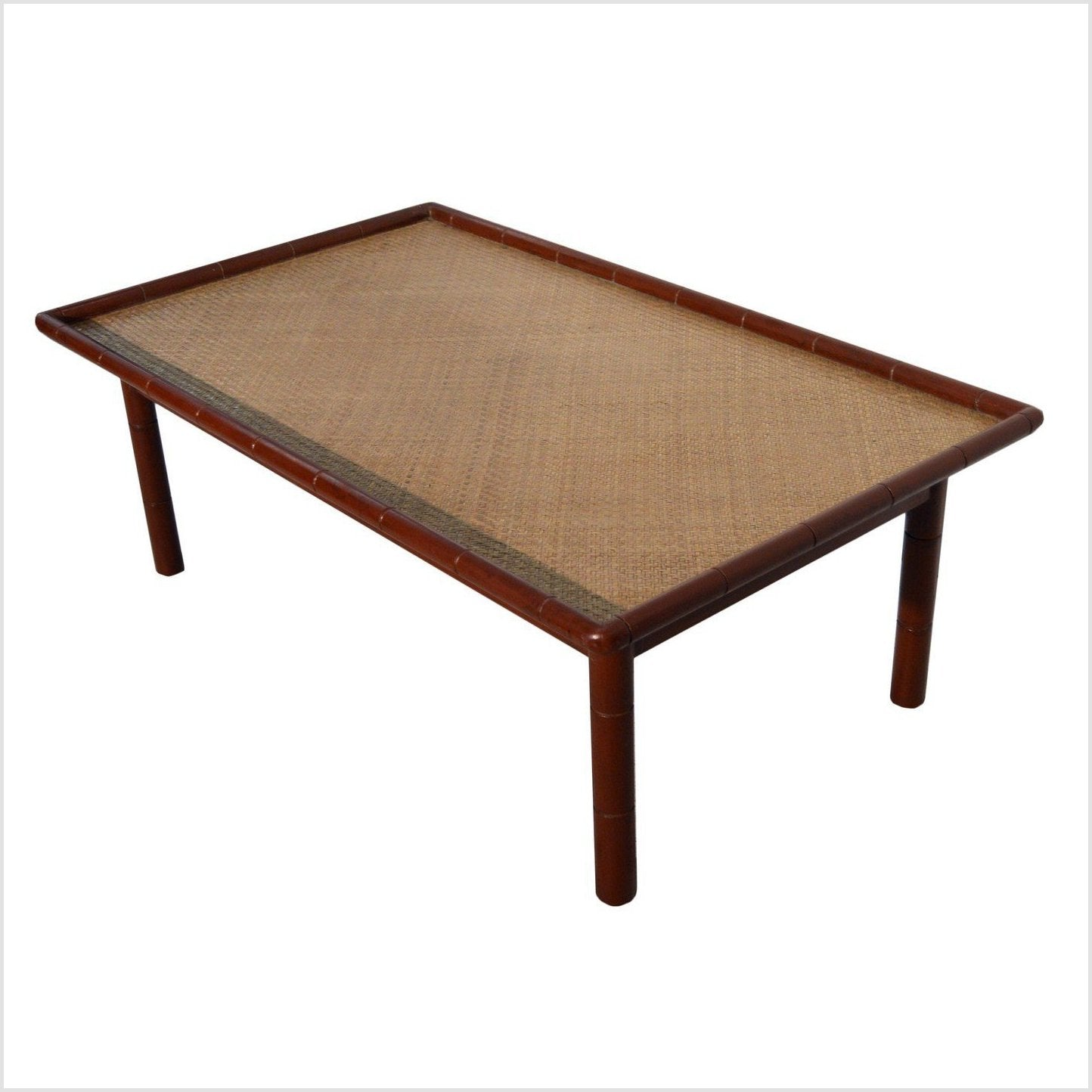 Red Rattan Top Bamboo Table