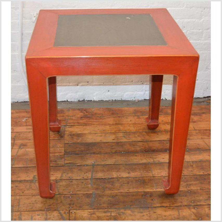 Red Side Table with Inset Floor Tile (Pair)