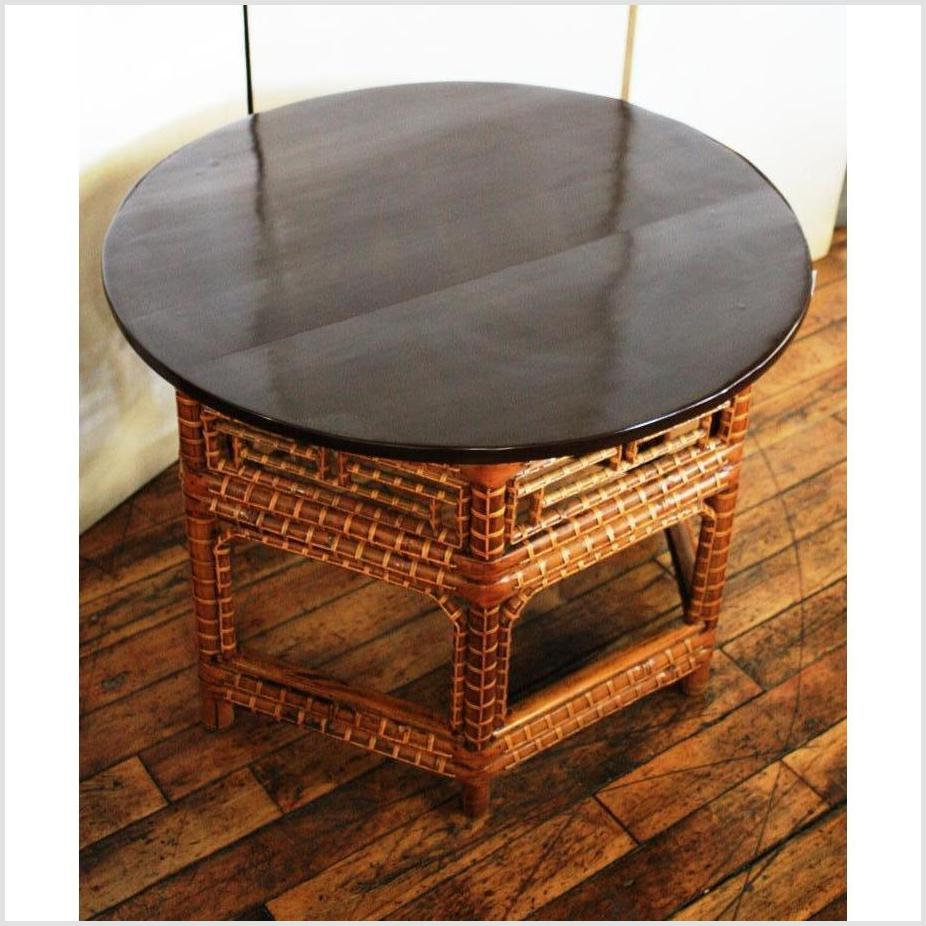 Round Black Lacquer Bamboo Table