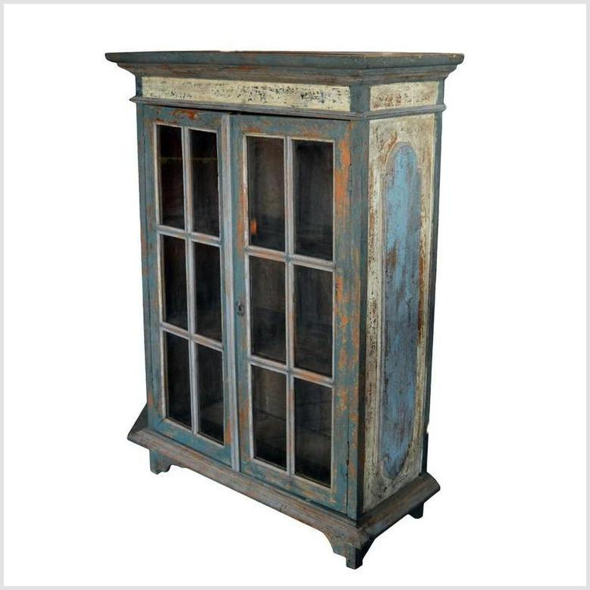 Antique Indian Cabinet With Glass Doors