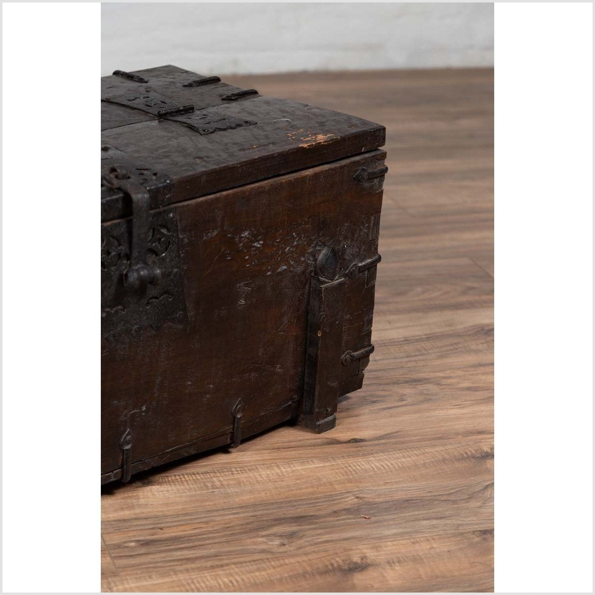 Small Antique Rustic Korean Wooden Trunk with Metal Hardware and Brown Patina