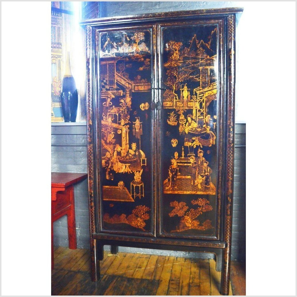Tall Black Lacquer Cabinet with Chinoiserie