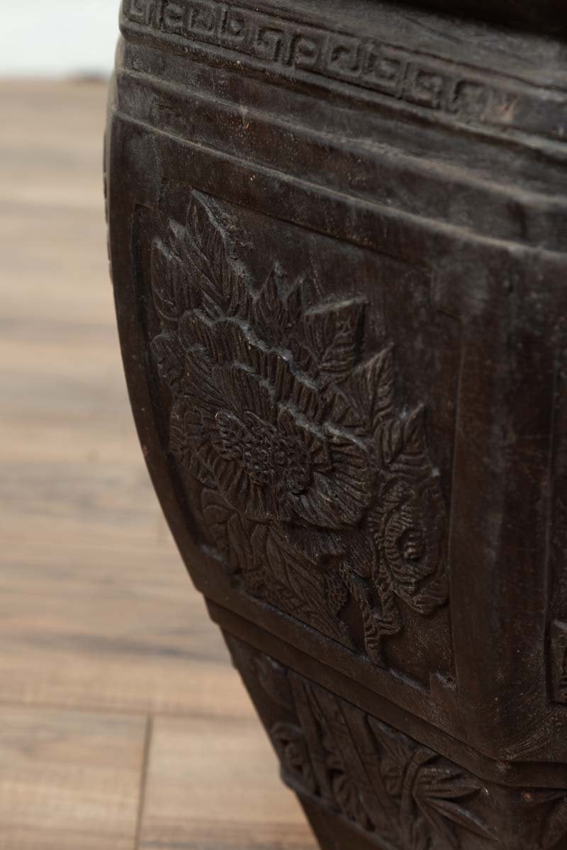 Vintage Asian Octagonal Bronze Planter with Floral, Foliage and Bird Motifs