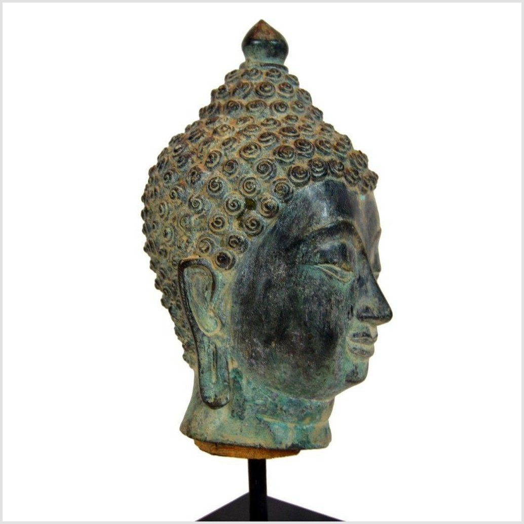 VINTAGE BRONZE BUDDHA HEAD ON STAND
