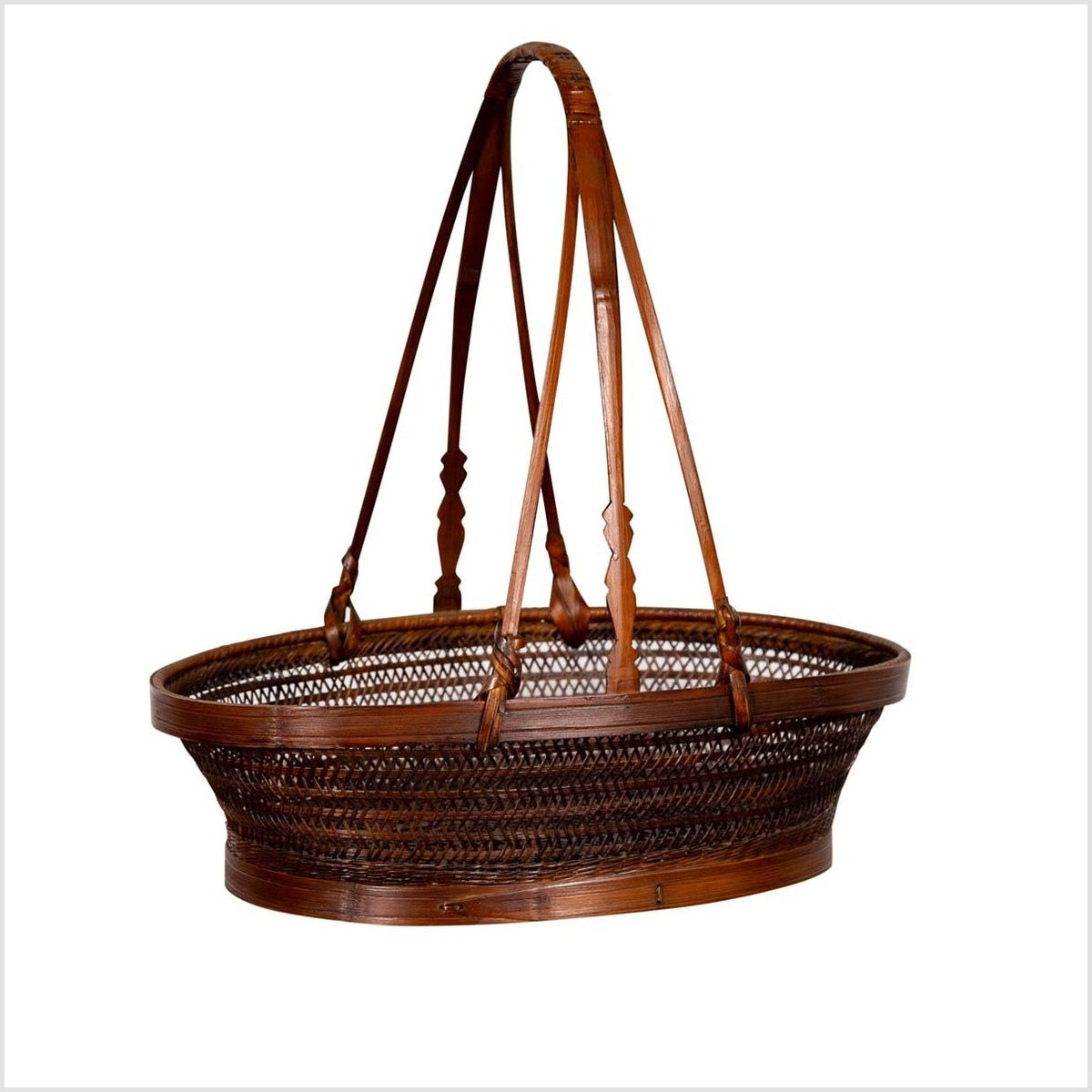 Vintage Chinese Woven Rattan Carrying Basket with Large Tripartite Handle