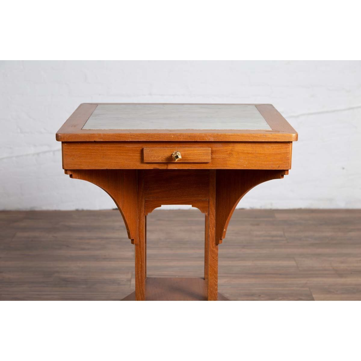 Vintage Dutch Colonial Indonesian Square Center Table with Marble Inset