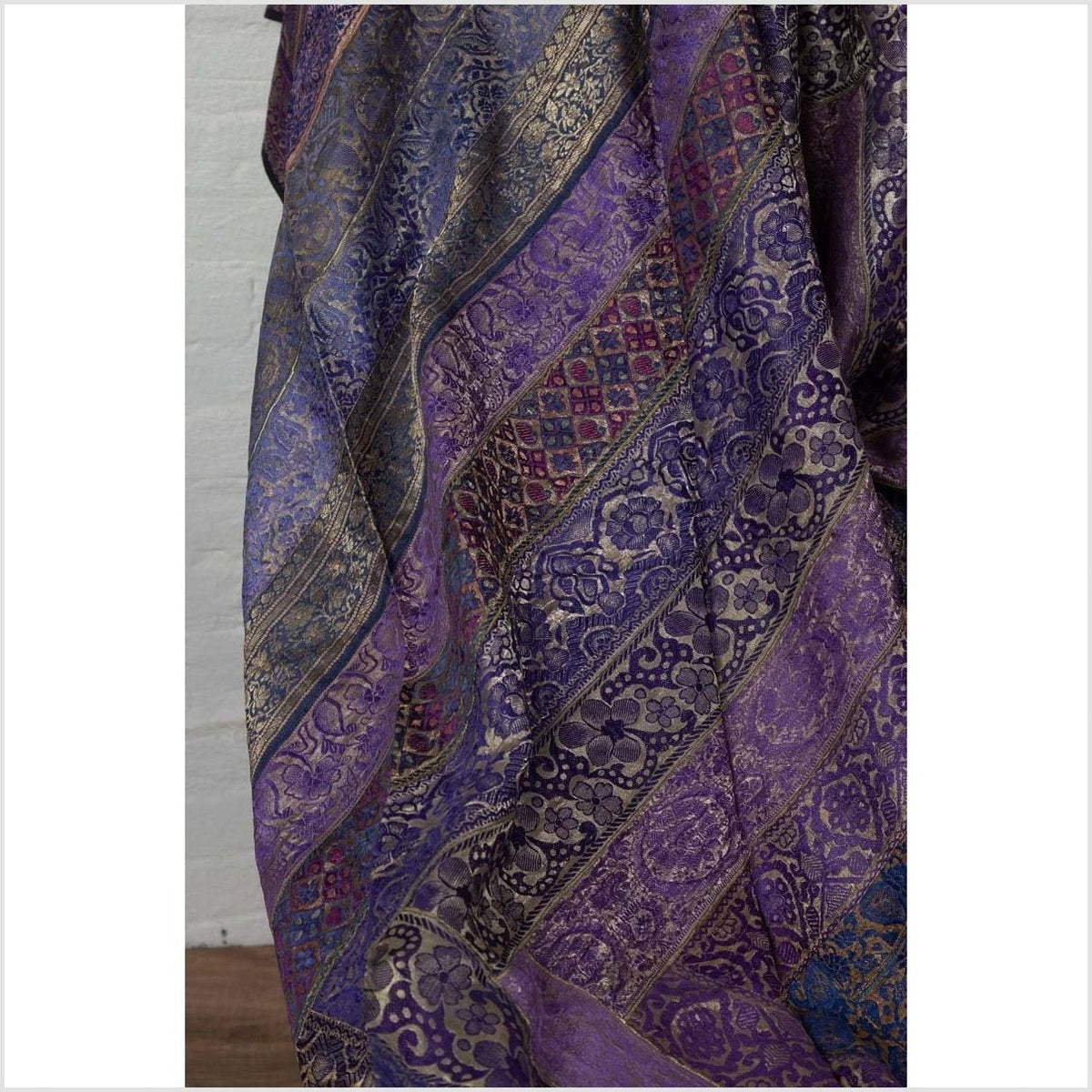 Vintage Indian Purple Silk Embroidered Fabric with Purple, Silver and Gold Tones