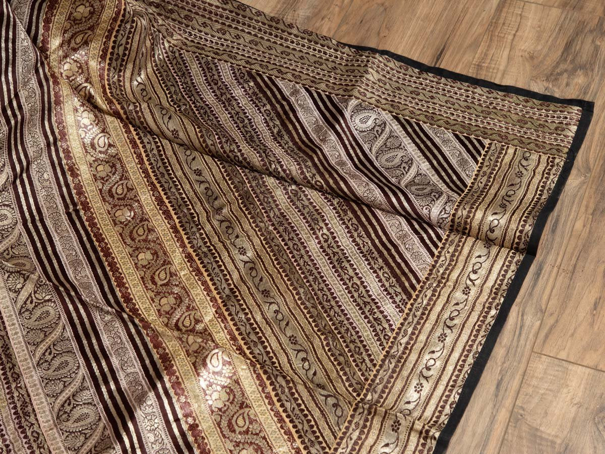 Vintage Indian Silk Embroidered Fabric with Gold, Silver and Maroon Tones