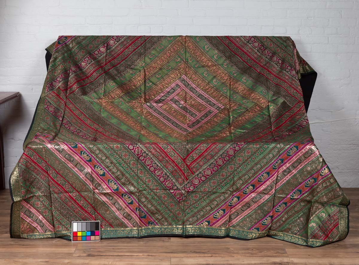 Vintage Indian Silk Embroidered Fabric with Green, Red, Fuchsia and Golden Tones