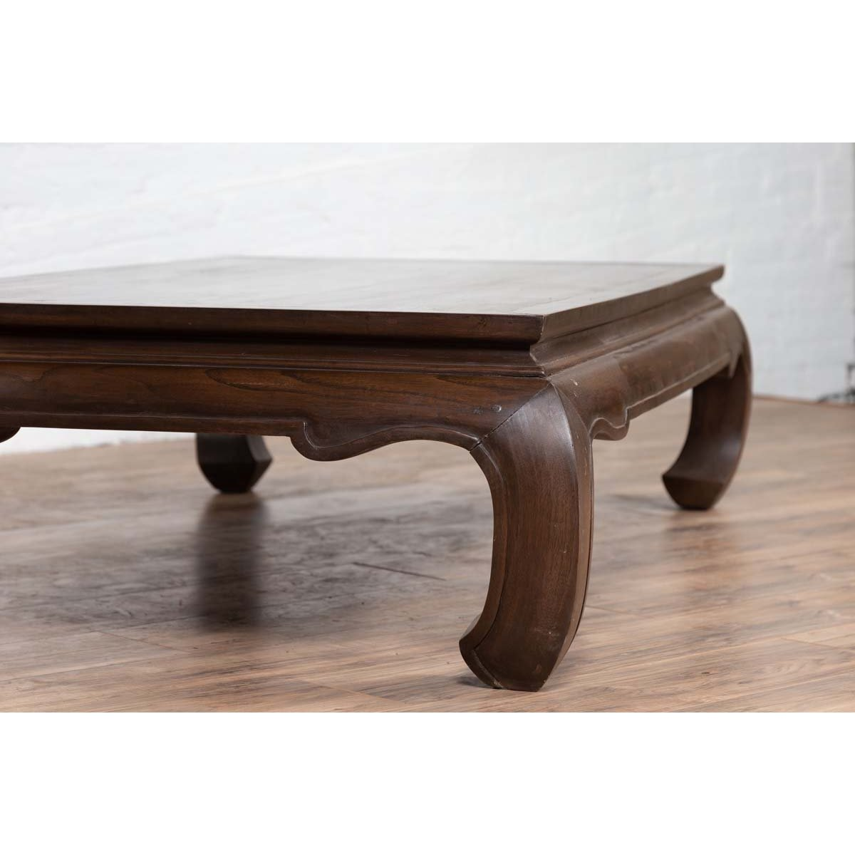 Vintage Thai Opium Bed Style Waisted Coffee Table with Dark Patina and Chow Legs