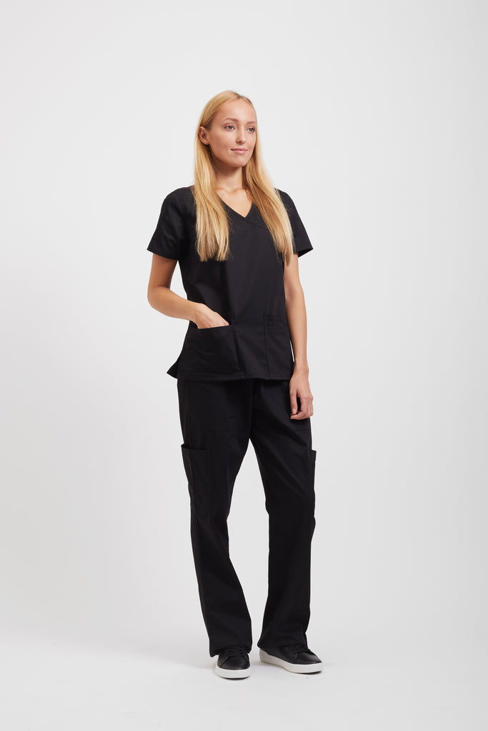 Black Designer Scrub Set for Women