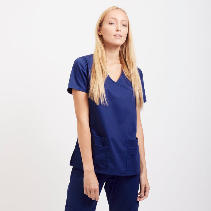 Navy Wrinkle Free Scrub Top