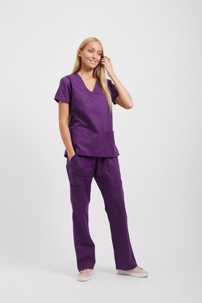 Purple medical scrubs for women