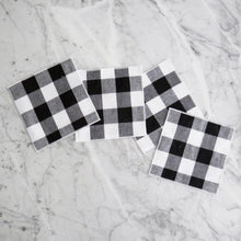 Cocktail Napkin Set / Black Gingham
