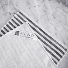 Cocktail Napkin Set / Black Linen Stripe