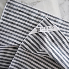 Hand Towel / Black Linen Stripe