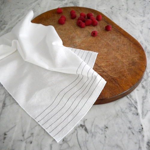 Hand Towel / White Linen with Black Stripes