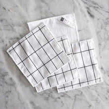 Cocktail Napkin Set / Black and White Vintage Windowpane