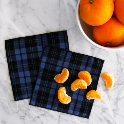 Cocktail Napkin Set / Blue and Black Plaid