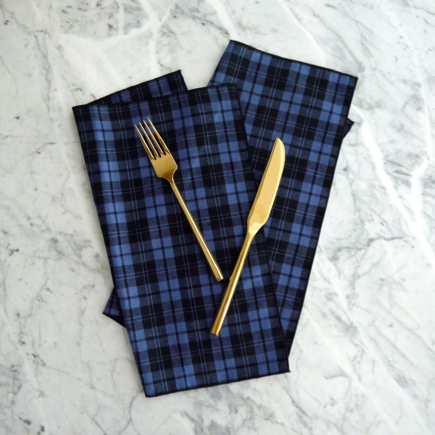 Dinner Napkins / Blue and Black Plaid