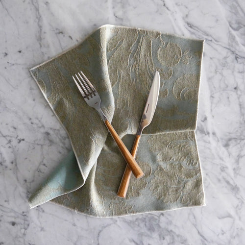 Dinner Napkin / Blue and Gray Damask