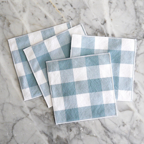 Cocktail Napkin Set / Fog Gingham