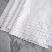 Dinner Napkin / White Linen with Gold Stripes
