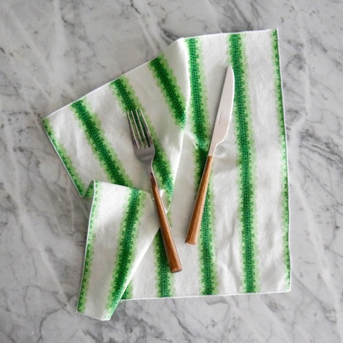 Dinner Napkin / Green Leaf Stripe
