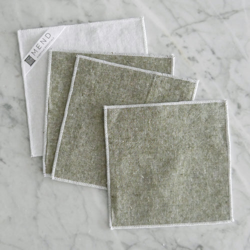 Cocktail Napkin Set / Olive Green Chambray