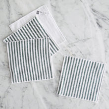 Cocktail Napkin Set / Green Linen Stripe