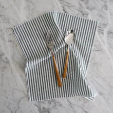 Dinner Napkin / Green Linen Stripe
