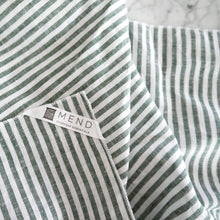 Hand Towel / Green Linen Stripe