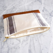 Zipper Bag / Large Cream and Brown Stripe with Vegan Leather