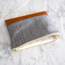 Zipper Bag / Large Striped Denim and Vegan Leather