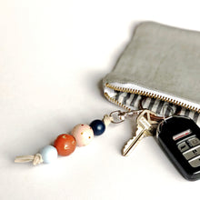 Hand Painted Wood Bead Key Fob in Blue