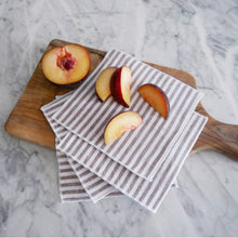 Cocktail Napkin Set / Latte Linen Stripe