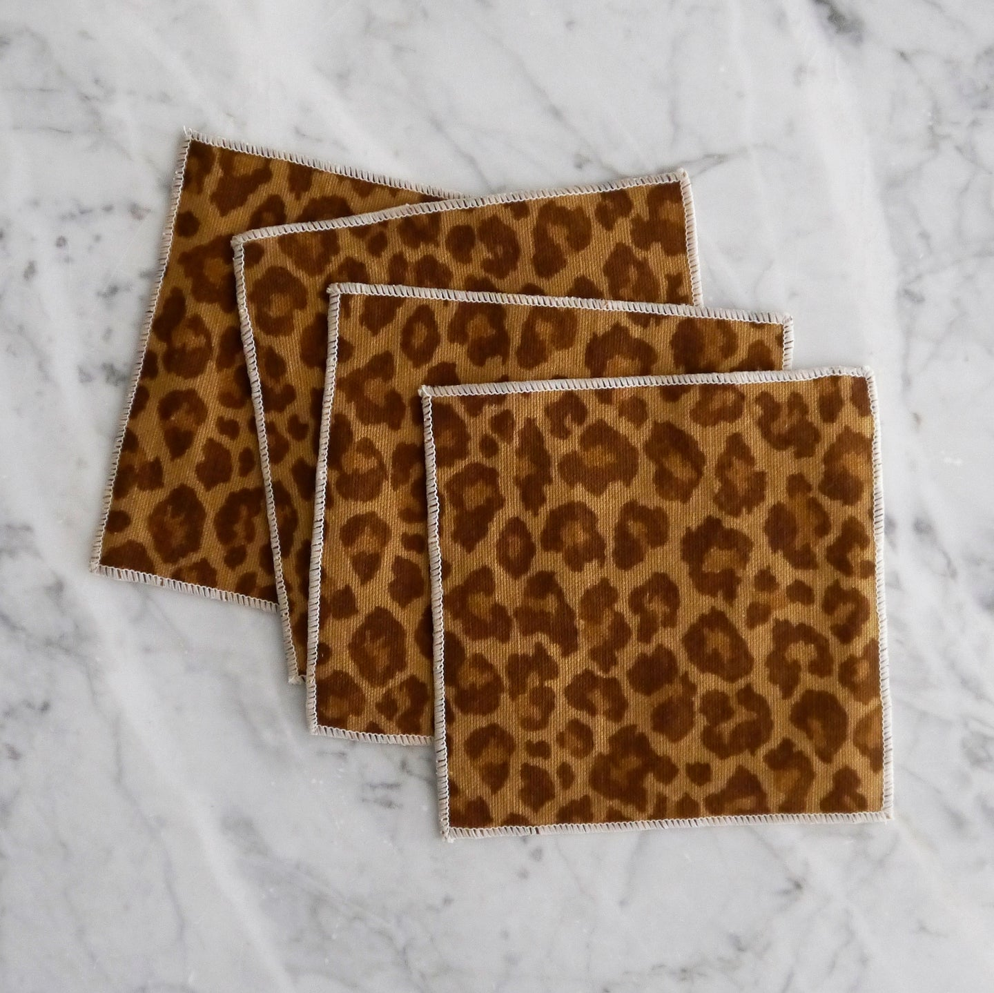 Cocktail Napkin Set / Brown Leopard