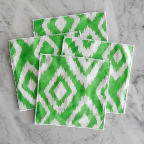 Cocktail Napkin Set / Lime Green Diamond