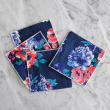 Cocktail Napkin Set / Midnight Blue Floral